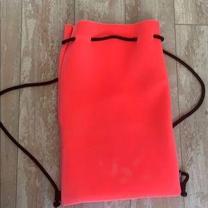 Hot pink velvet triangl bag